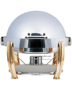 Elia Large Round Roll Top Chafing Dish with Brass Accents