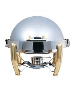 Elia Medium Round Roll Top Chafing Dish with Brass Accents