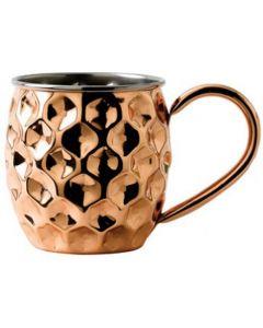 Solid Copper Dented Barrel Mug with Nickel Lining 17oz