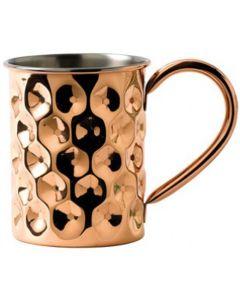 Solid Copper Dented Mug Slim with Nickel Lining 14.75oz