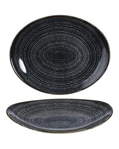 "Churchill Homespun Oval Plate 10.5"" Charcoal Black"
