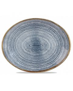 "Churchill Homespun Oval Plate 12.5"" Slate Blue"