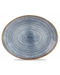"Churchill Homespun Oval Plate 10.6"" Slate Blue"