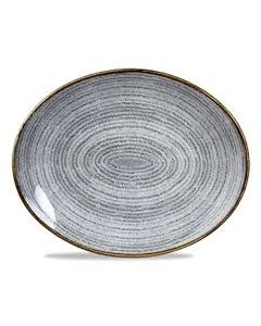 "Churchill Homespun Oval Plate 10.5"" Stone Grey"