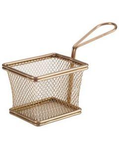 Copper Serving Fry Baskets Small Rectangular