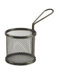 Black Serving Fry Baskets Round