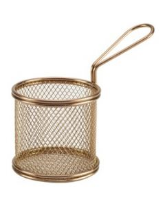 Copper Serving Fry Baskets Round