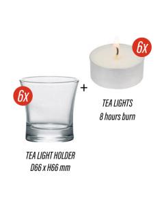 6x Modern Clear Tea Light Candle Holder + 6x Tea Lights Candles
