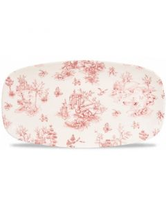 """Cranberry Toile Oblong Plate 11.75"""""""