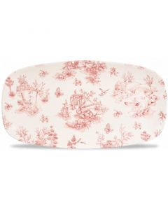 """Cranberry Toile Oblong Plate 13.9"""""""