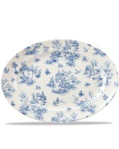"Churchill Prague Toile Oval Rimmed Dish 14.3"""