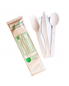 Vegware Compostable Wooden Cutlery Kit 4pcs