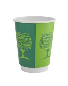Vegware 8oz Double Wall Cup - Green Tree