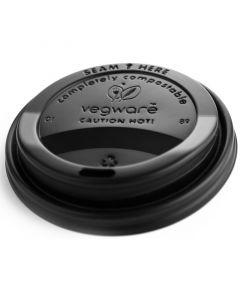Vegware Compostable Flat Lid 89mm Black (10-20oz Hot Cup)
