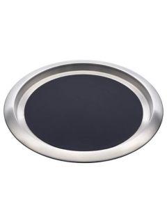 "Stainless Steel Non-Slip Round Tray 14"" Silver & Black"