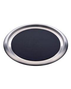 "Stainless Steel Non-Slip Round Tray 16"" Silver & Black"